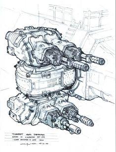 The Matrix: 70 Original Concept Art Gallery - Daily Art, Movie Art Spaceship Concept, Concept Ships, Spaceship Design, Sci Fi Weapons, Weapon Concept Art, Art Et Illustration, Illustrations, Gun Turret, Concept Art Gallery