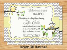 Custom Owl Baby Shower Invitation Neutral Baby by MyBabiesBreath