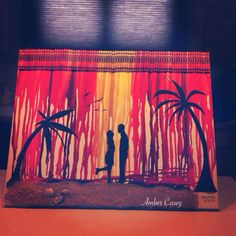 Melted crayon art for my brother & sister in laws beach wedding gift. -Amber Casey