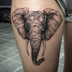 Knocked out this elephant thigh piece today. Elephant Head Tattoo, Elephant Tattoo Design, Head Tattoos, Sleeve Tattoos, Thigh Tattoos, Trendy Tattoos, Cool Tattoos, Elefante Tattoo, Tattoo Fonts Generator