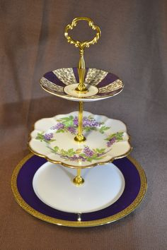 Aubergine Cake Stand for Weddings Baby Shower by TeaTimesCreations