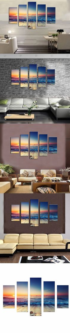 Home decoration printed oil painting canvas prints no frame 5 panel paintings ocean wave on the beach in sunrise scenery FS30 $57