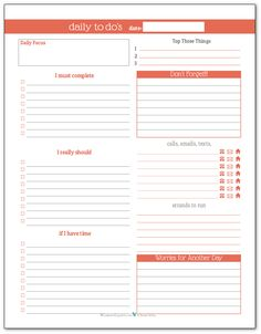 Summer Orange - Daily To-Do list planner printable