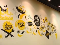 34 Inspiring Typography Wall Mural Designs Bashooka is part of Wall graphics restaurant It is important to always be open to the things around you, because inspiration can come from anywhere and a - Mural Cafe, Office Wall Graphics, Office Mural, Office Wall Design, Doodle Wall, Environmental Graphic Design, Mural Wall Art, Art Walls, Wall Paintings