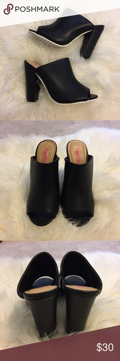 "Black Mules Sold out online!  Size is 5.5 but fits my feet and I'm a size 5. Approx. Heel Height: 4"" Approx. Platform Height: N/A Approx. Shaft Height: N/A Approx. Calf Circumference: N/A Synthetic Upper Man Made Sole Price is firm.  Bundle to save on shipping! JustFab Shoes Mules & Clogs"