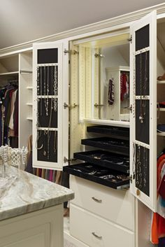 Storage Jewelry Inspired standing mirror jewelry armoire in Closet Traditional with Jewelry Armoire next to Jewelry Safe Ideas alongside Closet Safe and Jewelry Display Mirror Jewelry Storage, Mirror Jewelry Armoire, Jewellery Storage, Jewelry Drawer, Jewelry Cabinet, Mirror Closet Doors, Closet Vanity, Closet Safe, Closet Storage