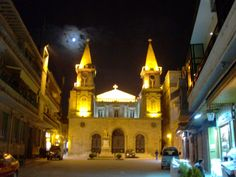 A church in Damascus by night.