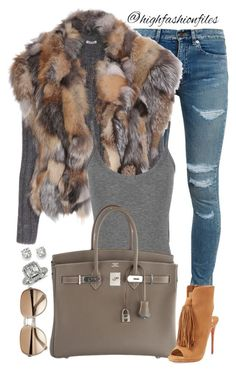 A fashion look from January 2016 featuring Miu Miu, Yves Saint Laurent jeans y Christian Louboutin sandals. Browse and shop related looks. Lila Outfits, Mode Outfits, Chic Outfits, Fashion Outfits, Fashion Moda, Look Fashion, Runway Fashion, Womens Fashion, Fashion Trends