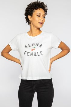 dbb3620c690016 Alpha female fitted vanessa tee - white   m