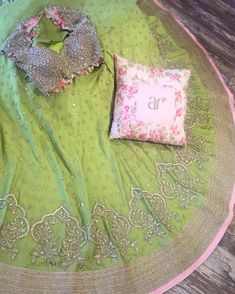 Anushree reddy designs are just awesome.. Sprawled at work today, this lime green lehenga & a perfect custom cushion. #BrandingIdeas #GreenForTheWin ✨
