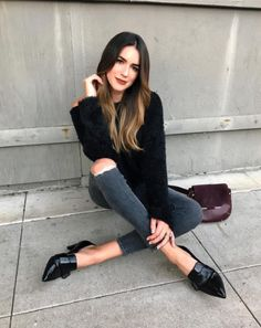 brittany xavier thrifts and threads brunette black loafers annette aquatal Casual Outfits, Cute Outfits, Fashion Outfits, Womens Fashion, Cabelo Tiger Eye, Black Loafers Outfit, Black Patent Leather Shoes, Pointed Toe Loafers, Madame