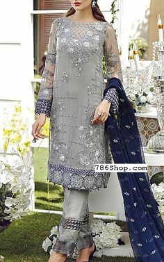 Grey/Blue Chiffon Suit | Buy Jazmin Pakistani Dresses and Clothing online in USA, UK