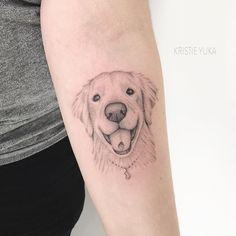 Tatuagem criada pela tatuadora Kristie Yuka (krisyuka) de São Paulo.    Cachorro em pontilhismo no braço. Pet Tattoos, Animal Tattoos, Dog Portrait Tattoo, Moose Tattoo, Different Tattoos, Dogs Golden Retriever, Dog Portraits, Beautiful Tattoos, Tattos