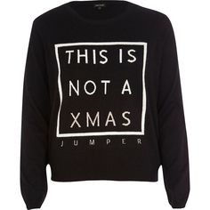 River Island Black knitted Christmas jumper (£5) ❤ liked on Polyvore featuring tops, sweaters, shirts, jumpers, sale, shirt top, crew neck sweaters, christmas sweaters, crewneck sweaters and crew neck shirt
