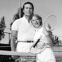 George Montgomery and Dinah Shore at the Racquet Club.