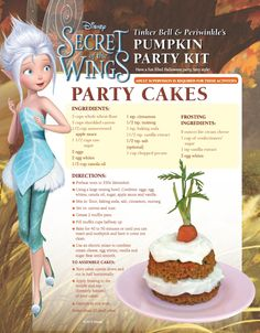 DIY Disney's Tinker Bell (& Periwinkle's) Pumpkin Party Cakes Here's a delicious recipe for some pumpkin party cakes, perfect for an Autumn, Halloween or Fairy Party! Disney Themed Food, Disney Inspired Food, Disney Food, Kids Cookbook, Cookbook Recipes, Dessert Recipes, Cooking Recipes, Disney Dishes, Disney Desserts