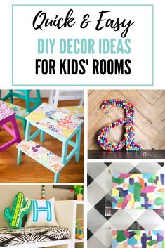 9 Easy Kids Room DIY Decor Ideas is part of Home Accessories Ideas Kids - These quick and easy kids room DIY decor ideas are fun, stylish, and the perfect way to give your little munchkin's room a pop of personality Diy Home Decor Easy, Diy Home Decor Bedroom, Easy Diy, Nursery Decor, Bedroom Ideas, Kids Decor, Decor Ideas, Craft Ideas, Diy Decoration
