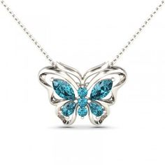 Jeulia Design Romantic Butterfly Design Aquamarine Rhodium Plating Sterling Silver Pendant Necklace - #jeulia - #Coupons - #sale