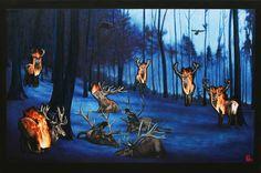 Oilpainting by Lévay Máté #oil #painting #oilpainting #red deer #raven #fire #landscape #forest