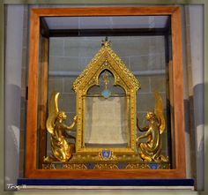 According to tradition, a small relic of the veil of the Blessed Virgin Mary is housed at Cathedral Basilica of Our Lady of Chartres (French: Basilique Cathédrale Notre-Dame de Chartres) Chartres, France.