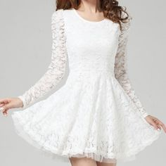 Ladylike Style Solid Color Lace Scoop Neck Long Sleeves Beam Waist Women's Dress Lace Dresses   RoseGal.com Mobile