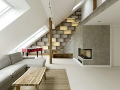 stair, shelving, storage, living room
