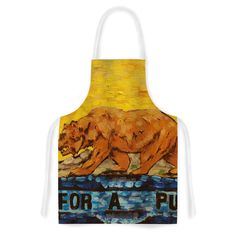 Kess InHouse Nathan Gibbs Art 'For A Public Bear' Blue Red Artistic Apron