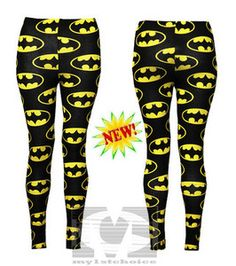 Batman leggings with black dress and ankle boots, or black skirt, yellow cami/blouse and leather catwoman jacket.