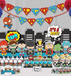 Superhero PopArt Baby Shower Party Package – Personalized and Editable Items – Package – Boys Baby Shower complete set printable PDF – PK-26 on Etsy, $45.00