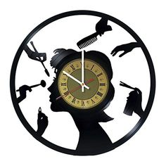 Amazon.com: Creative Gift Idea for Barber Hair Salon Vinyl Wall Clock: Sports & Outdoors