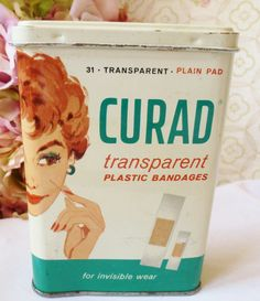 Vintage Tin RARE Curad 1950's BandAid With Lady 31 by vintagelady7,