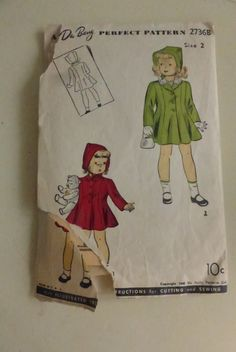 Vintage DuBarry Pattern 2736B  Child's Princess Coat Size 2 by VintagePatternDrawer on Etsy