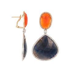 Rina Limor Fine Jewelry 18K White Gold, Orange Agate & Blue Sapphire Diamond Earrings featured in vente-privee.com