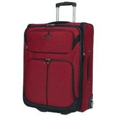 Large luggage Samsonite red with black zip detail. Very similar to pictured.