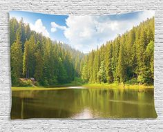 Ambesonne Lake House Decor Collection, Mountain Landscape in the Forest by the Lake Summer Season Countryside Om Photo, Bedroom Living Room Dorm Wall Hanging Tapestry, 60 X 40 Inches, Green Blue White >>> Find out more about the great product at the image link.