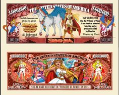 She-Ra - Princess of Power - Cartoon Series Million Dollar Novelty Money She Ra Princess, Princess Of Power, Disney Activities, Coach Keychain, Old Money, Business Checks, Old Coins, Financial Markets, Animation Series