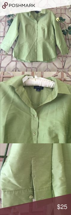 "Ann Taylor silk light green 100% blouse This button down light green silk blouse has 3/4th  sleeve with 2 buttons.Curved hem. Length 24 and bust 19"". It's in excellent condition and is perfect for fall when you need a more dense natural fabric. The color and fabric are great for elegant lunches and chic evenings. Ann Taylor Tops Button Down Shirts"