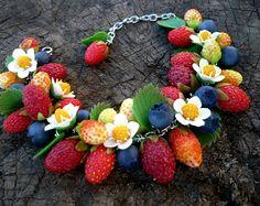 Handmade berries bobby pin Handmade berry Polymer clay hair