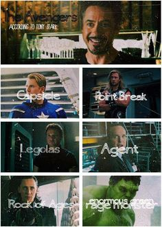 The Avengers + Loki ... according to Tony Stark I'm a huge fan of how you lose control and turn into a enormous green rage monster!