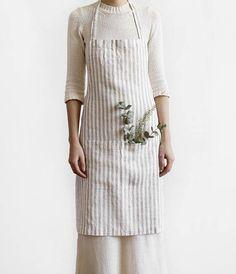 linen apron full linen apron pure flax linen fabric long