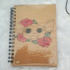 Gizmo (gremlins) A5 hardcover matte linework and watercolour notebook (in plastic protection sleeve) Available for £6 on our bigcartel or to win in a giveaway being held on our instagram (@delicatecreatures)