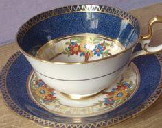 UNIQUE Antique Aynsley hand painted tea cup, English tea cup, blue tea cup, Bone China tea cup, blue and gold tea cup and saucer