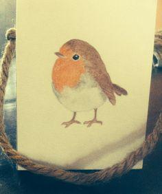 Little watercolor pencil Robin by Tjilpje