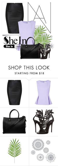 """Black Split Slim PU Skirt - with SHEIN"" by deni1977 ❤ liked on Polyvore featuring Diane Von Furstenberg, Paul & Joe, Giuseppe Zanotti, WallPops, women's clothing, women's fashion, women, female, woman and misses"