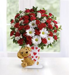 """Roses are red and most puppies are sweet; say """"I Ruff You"""" with this pup's flower treat Valentine Flower Arrangements, Beautiful Flower Arrangements, Valentines Day Poems, Valentines Flowers, Teleflora Flowers, Discount Flowers, Anniversary Flowers, Bouquet, Flower Cart"""