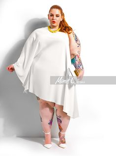 Monif Love the model and this dress Tattos+Curves