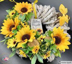 """Kézműves Csodák Műhelye on Instagram: """"🌻🌻Óriás napraforgós kopogtató🌻🌻 Átmérője: 33 cm Ajándékként küldd egyenesen a címzettnek, ha kísérő szöveget is küldesz mellé mi azt egy…"""" Floral Wreath, Wreaths, Fall, Instagram, Decor, Autumn, Floral Crown, Decoration, Door Wreaths"""