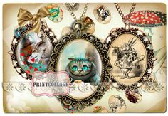 Digital Printable Sheets Alice Wonderland by PrintCollage Arts And Crafts Projects, Digital Collage, Collage Sheet, Alice In Wonderland, Scrapbook Pages, Gift Tags, Clip Art, Printables, Etsy Shop