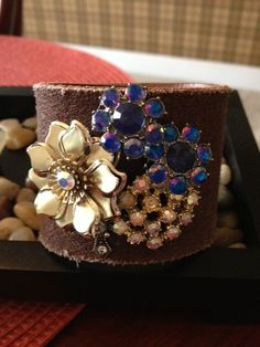 Gorgeous+Leather+Cuff+Bracelet+with+Vintage+by+RockstarRings,+$32.99