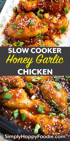 Slow Cooker Honey Garlic Chicken is a sweet and savory Asian inspired chicken recipe. This delicious slow cooker chicken recipe has lots of honey and garlic, as well as other yummy ingredients. This crock pot honey garlic chicken recipe is done in Chicken Drumstick Recipes, Garlic Chicken Recipes, Chinese Garlic Chicken, Garlic Ginger Chicken, Chinese Chicken Recipes, Onion Chicken, Mexican Chicken, Chicken Sausage, Recipe Chicken